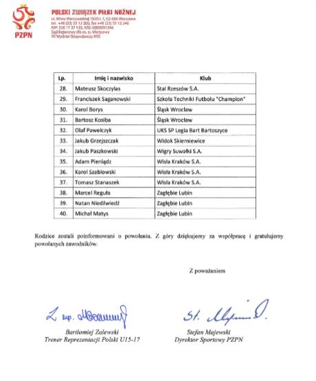 Powołanie na konsultację Kadry Polski dla naszego zawodnika Franka Saganowskiego