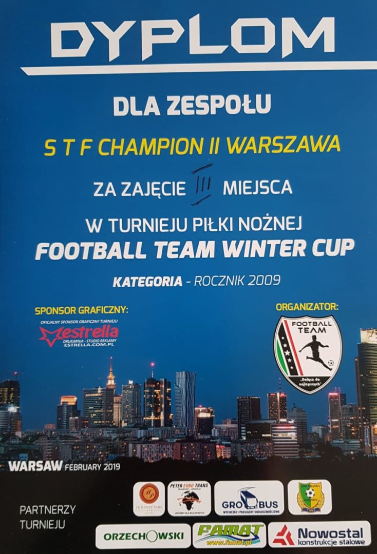 3 miejsce rocznika 2009b w turnieju Football Team Winter Cup